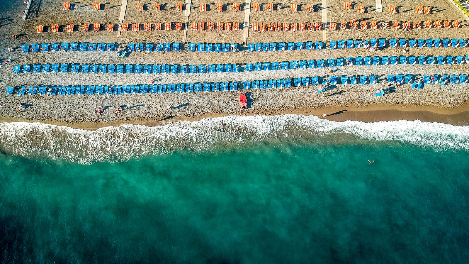 Positano beach, from above